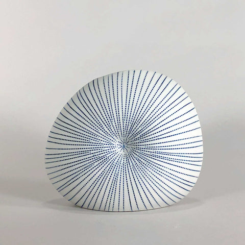 white porcelain blue glaze handmade handcrafted vase geometric display scma smith college museum of art