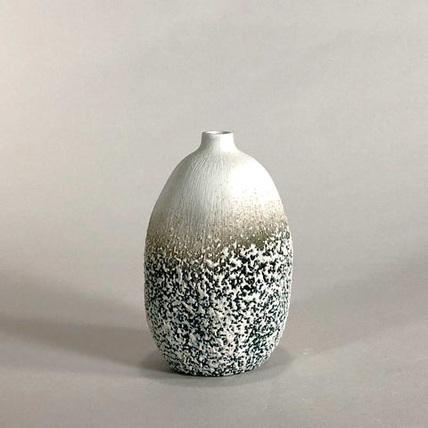 white porcelain gray grey black glaze handmade handcrafted sculpture geometric bumpy tactile texture display vase scma smith college museum of art