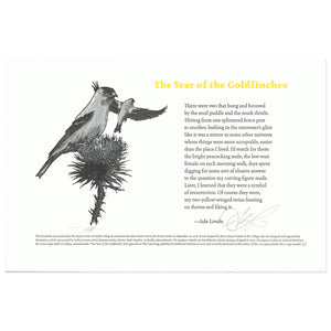 bird goldfinch print poem broadside scma smith college museum of art Barry Moser Ada Limon