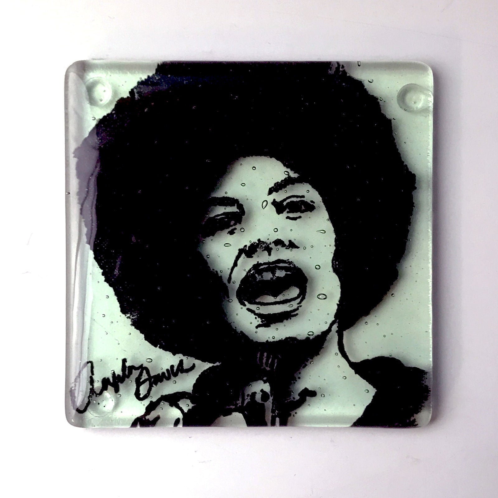 Angela Davis Laurie Freivogel class coaster green black clear transparent print SCMA Smith College Museum of Art