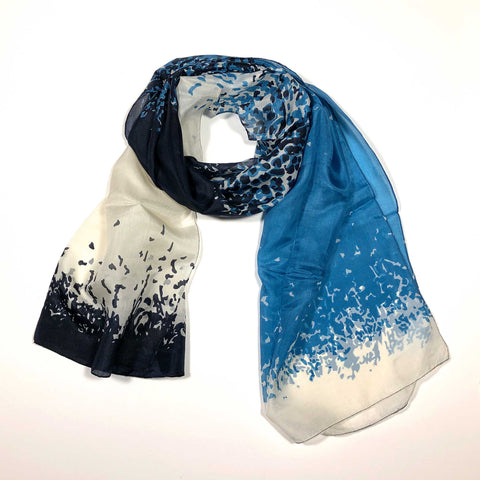 Flying Fox Dupatta silk scarf  geometric abstract sea glass blue white deep indigo SCMA Smith College Museum of Art