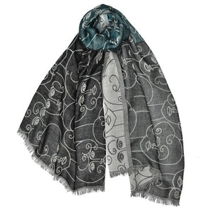handprinted wool scarf faces geometric blue black gray grey white handmade scma smith college museum of art