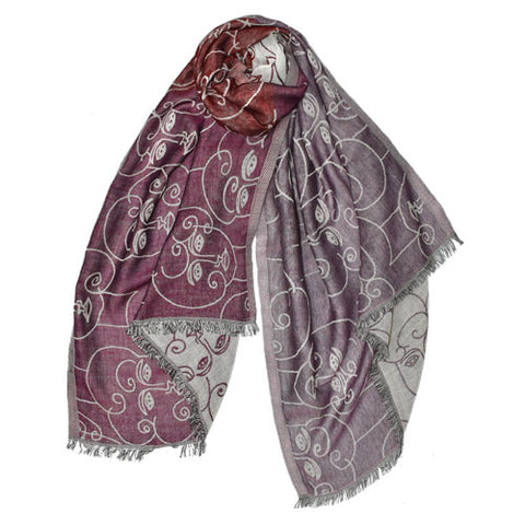 handprinted wool scarf faces geometric red purple white handmade scma smith college museum of art