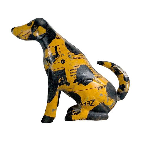 sculpture dog puppy recycled upcycled cooking container sustainable sustainability India handmade hand made scma smith college museum of art gold yellow black