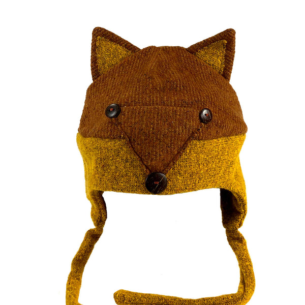 children children's warm winter hat fox brown tan buttons handmade scma smith college museum of art