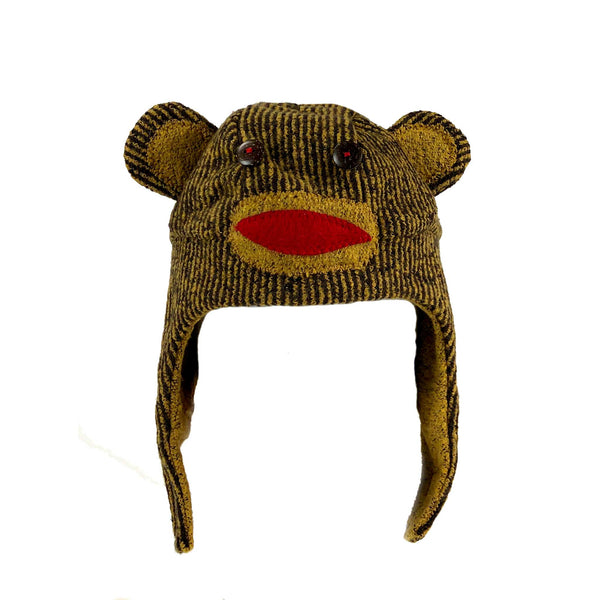 children children's warm winter hat monkey ape chimpanzee red tan brown yellow stripe buttons handmade scma smith college museum of art