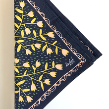 Beth Snyder handmade indigo navy blue yellow white bandana scarf handkerchief hair tie accessory hankie headband flower tulip leaves leaf geometric cotton scma Smith College Museum of Art