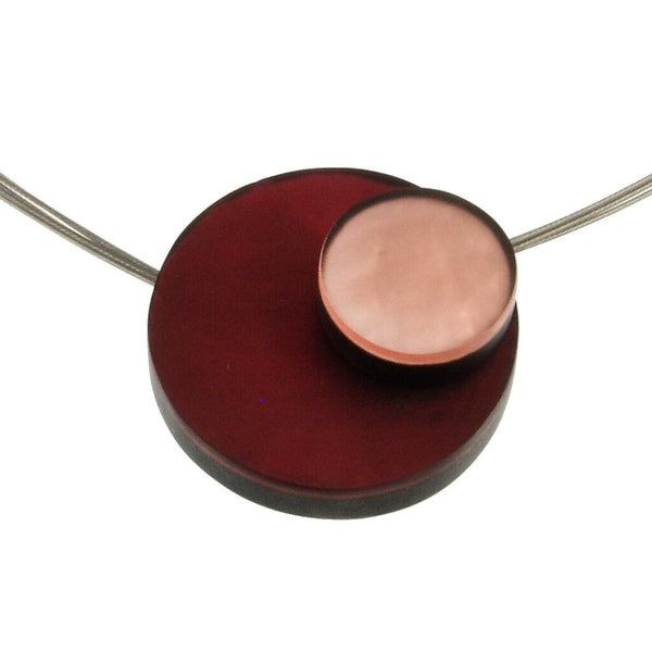 necklace steel wire colorful circles mother of pearl Indonesia scma smith college museum of art pink red maroon wine salmon peach
