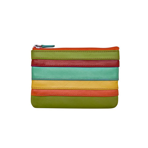 leather coin purse zipper colorful stripes green red blue yellow orange black wallet scma smith college art museum