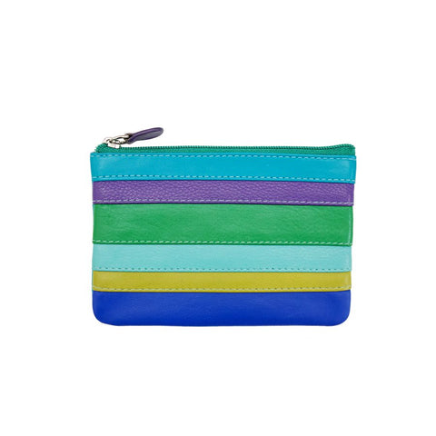 Aqua Brights Striped Leather Coin Purse