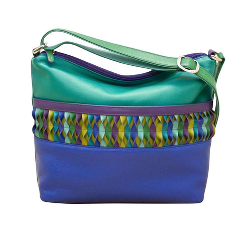 leather shoulder strap messenger bag zipper colorful blocking geometric blue teal purple scma smith college art museum