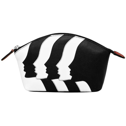 leather purse makeup cosmetics bag zipper stripes faces white black wallet scma smith college art museum