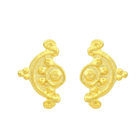 cast lead-free pewter plated matte gold handmade earring earrings geometric floral stud studs SCMA smith college museum of art