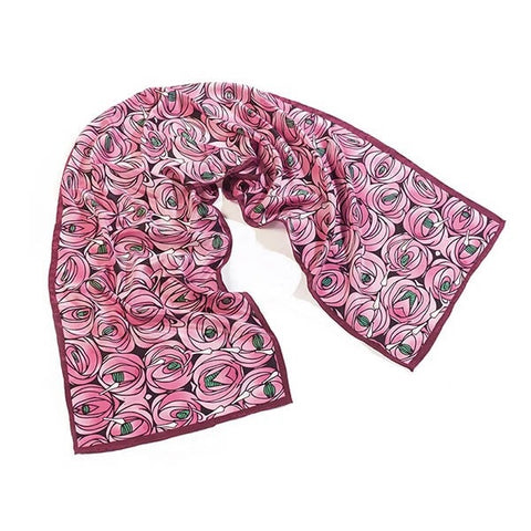 Charles Rennie Mackintosh pink rose roses Crepe de Chine silk scarf handprinted handmade art nouveau scma smith college museum of art