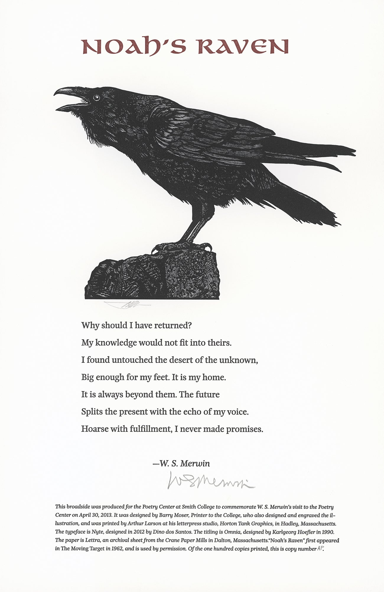 W. S. Merwin Barry Moser broadside print poem poetry center bird raven crow scma smith college museum of art