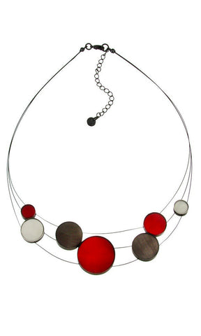 mother of pearl resin white red charcoal gray necklace adjustable geometric transparent black chain handmade Philippines scma Smith College Museum of Art