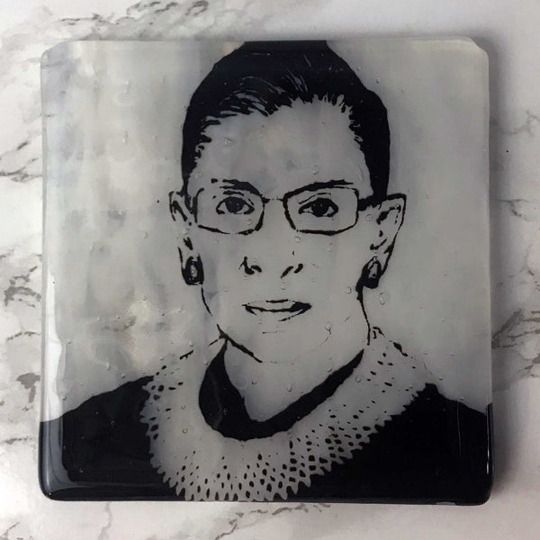 Laurie Freivogel glass coaster transparent grey white Justice Ruth Bader Ginsburg handmade scma Smith College Museum of Art