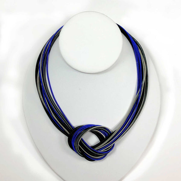 piano wire necklace magnetic clasp closure blue cobalt black white scma smith college museum of art