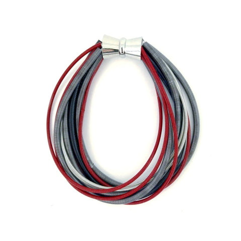 piano wire bracelet magnetic clasp closure red gray grey black scma smith college museum of art