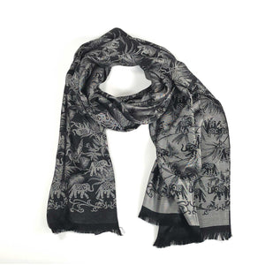 scarf wrap silk handmade handrolled hand loom loomed black silver elephant bamboo nature scma smith college museum of art