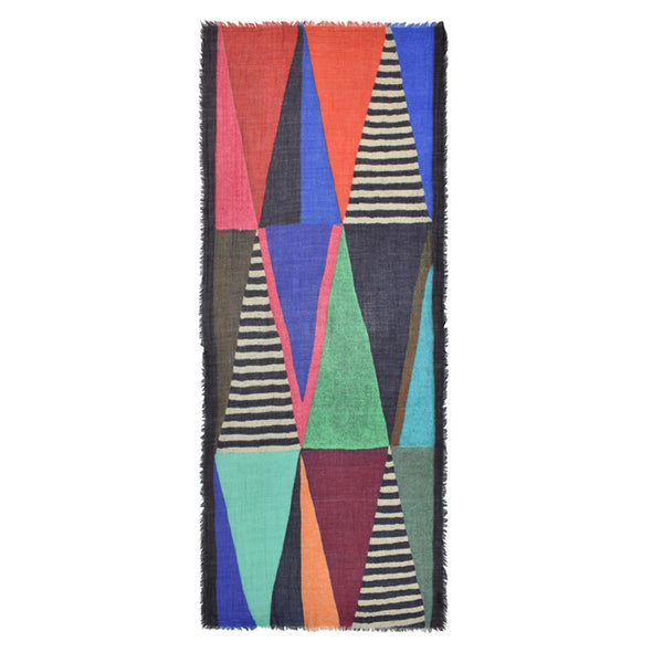 wool modal scarf colorful color blocking geometric stripe handmade fringe blue red orange black white green teal scma smith college museum of art