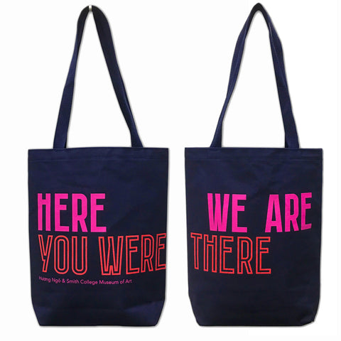 Hương Ngô Huong Ngo tote bag shoulder strap environmental sustainable canvas navy blue pink magenta red text handmade scma smith college museum of art