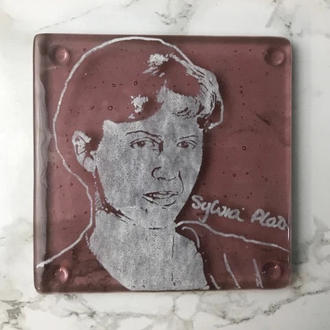 Laurie Freivogel glass coaster transparent red maroon wine burgundy sylvia plath handmade scma Smith College Museum of Art