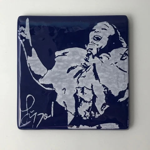 Laurie Freivogel glass coaster transparent blue navy lizzo handmade scma Smith College Museum of Art