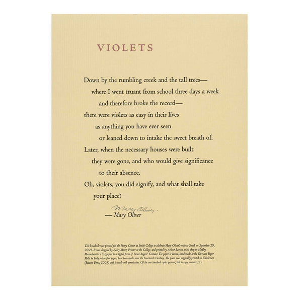 Mary Oliver poem Violets Poetry Center Smith College broadside print handprinted Barry Moser SCMA Smith College Museum of Art