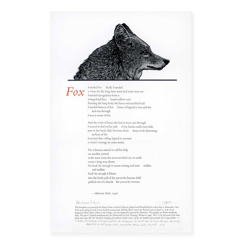Adrienne Rich fox poem Barry Moser print broadside Poetry Center at Smith College SCMA Smith College Museum of Art
