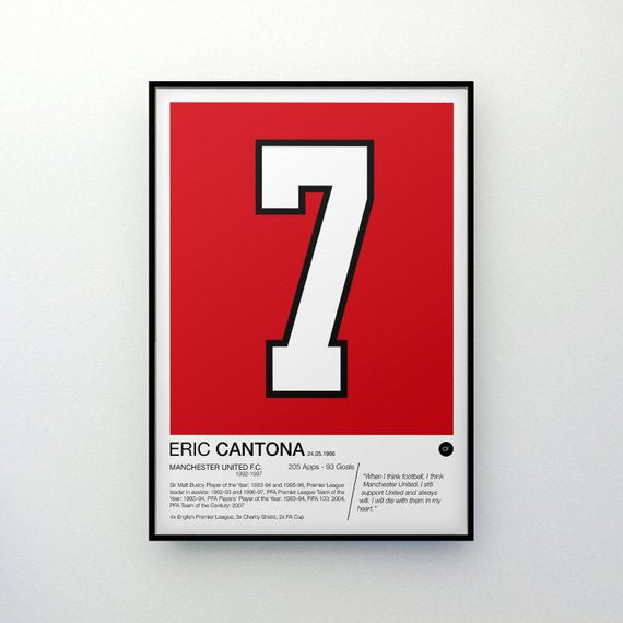 Eric Cantona - #7 - Manchester United F.C. - Poster Print