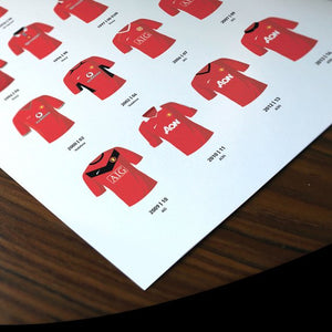 Manchester Utd Classic Kits Football Team Print, Gift for Him, FREE UK DELIVERY