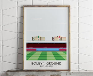West Ham, Boleyn Ground, Upton Park, Illustrated Print, Soccer, Football Gifts, Gift for Men, Boyfriend Gifts, Soccer Gift, Football Print