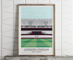 West Ham, London Stadium, Illustrated Print, Soccer, Football Gifts, Gift for Men, Boyfriend Gifts, Soccer Gift, Football Print