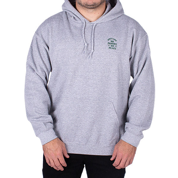 No Justice Hoodie Heather Grey