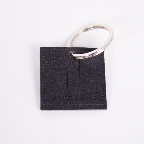 N Graphic Leather Keychain Black