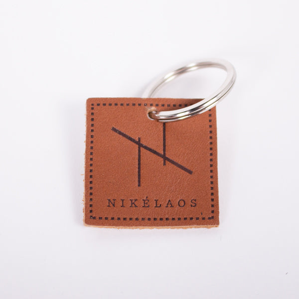 N Graphic Leather Keychain Cognac