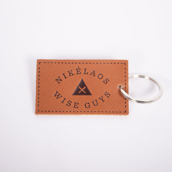 Wise Guys Leather Keychain Cognac