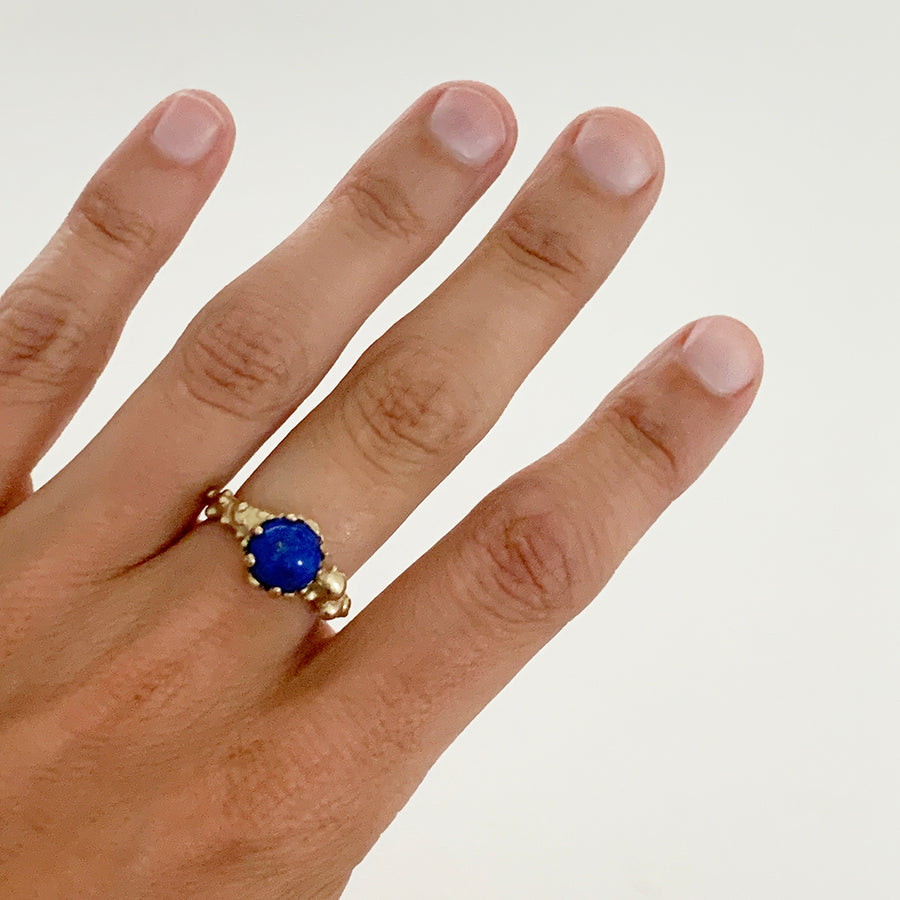 Lapis Cocktail Ring, 14k