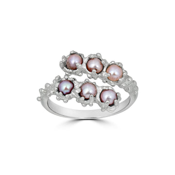 Adjustable Pearl Ring, Silver