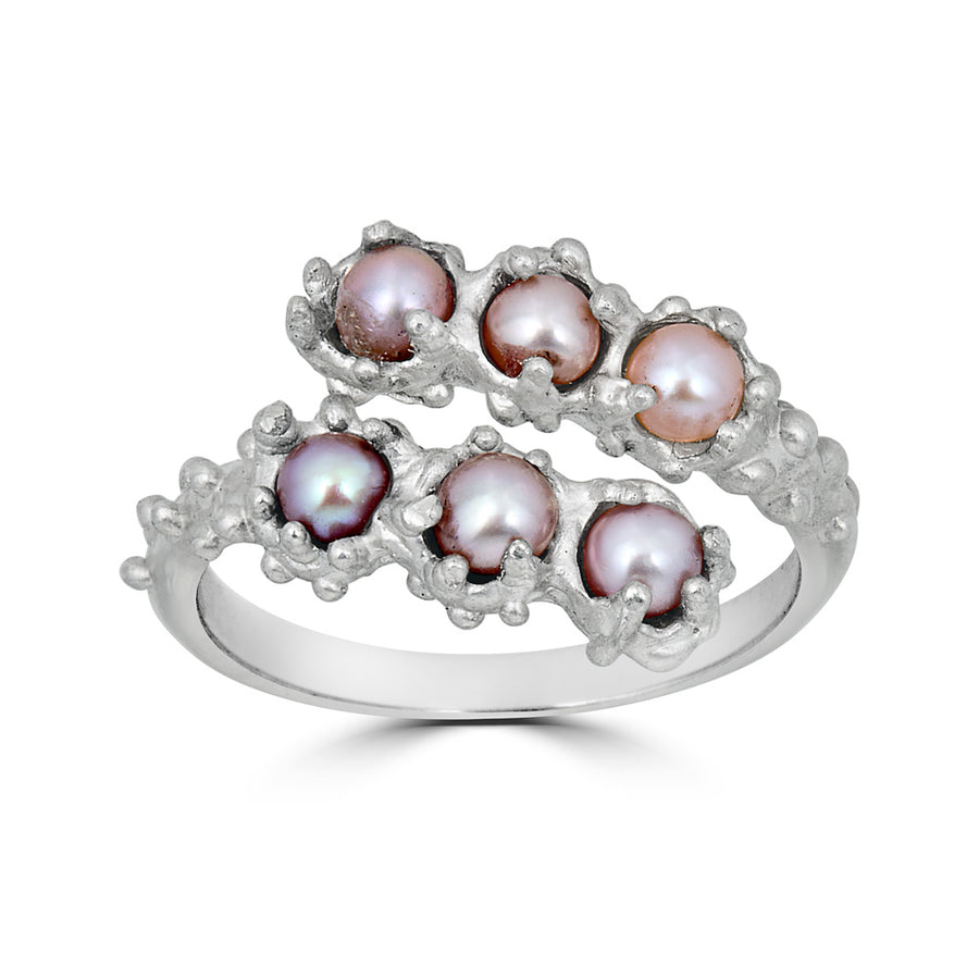 Adjustable 6 Pearl Ring, Silver
