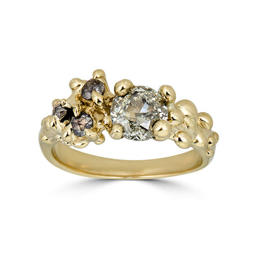 Diamond Anemone Ring, 14k Gold