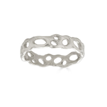 Morel Stacking Ring, Silver