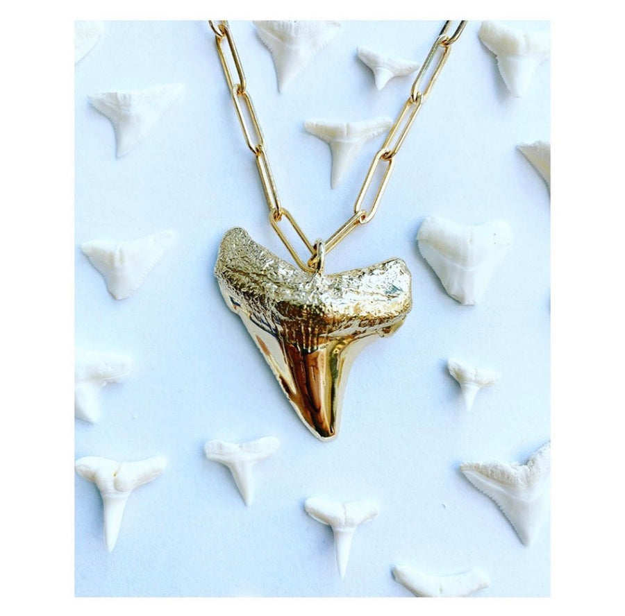 Megalodon Tooth Necklace, Brass