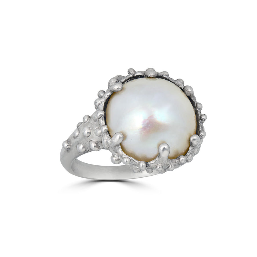 Mabe Pearl Cocktail Ring, Silver