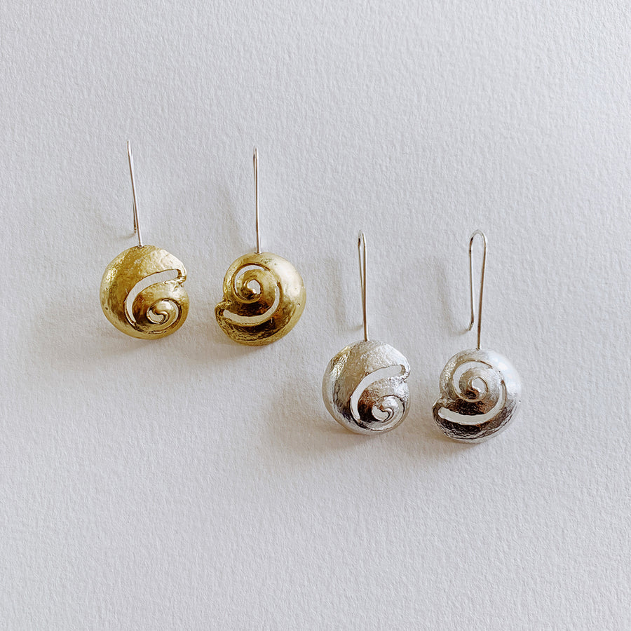 Moon Snail Earrings, Silver