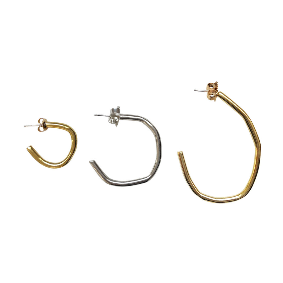 Rugged Large Hoops, Brass