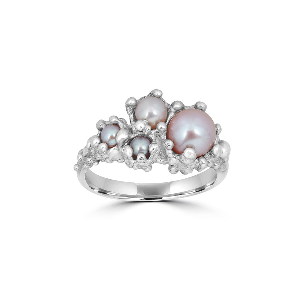 Pearl Anemone Ring, Silver