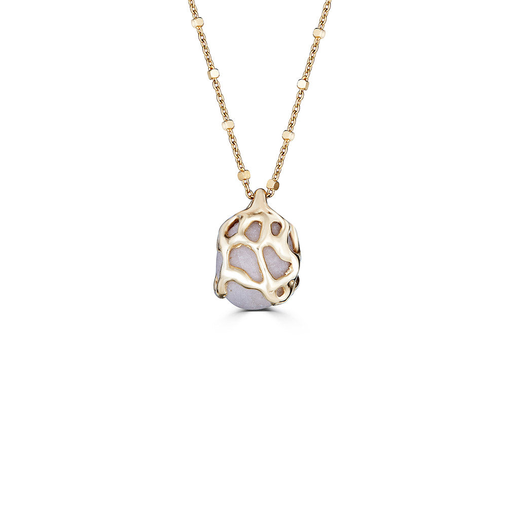 Beach Stone Necklace, 14k