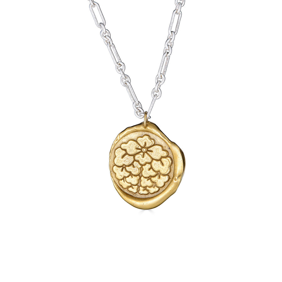 Wax Medallion Necklace, Brass